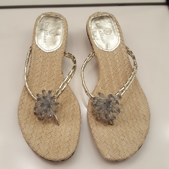 4ccea3aa46b4 COLE HAAN Shoes - COLE HAAN MINDI GOLD NATURAL BEADED FLOWER SANDAL
